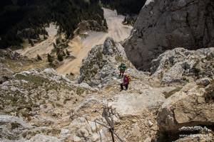 Ziemlich ausgesetzt am Friedberger Klettersteig