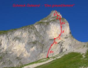 Schneck-Ostwand-mit-Route (c) Walter Hölzler