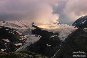 Sonnenuntergang überm Gletscher