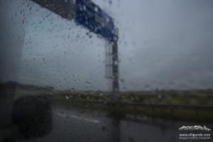Den ganzen zweiten Autobahntag schifft es wie aus Kübeln, die Sicht ist übel. Erst nahe der Dänischen Grenze lässt der Regen nach...