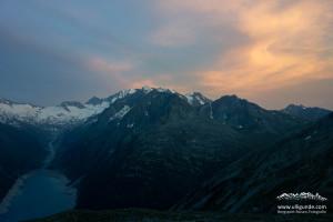 Blick von der Olpererhütte in Richtung Schlegeisstausee, Hochfeiler und Großer Möseler