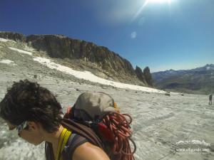 Am Gletscher zur Galengratverschneidung. Im Hintergrund der Hannibalturm.