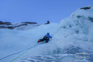 Der erste Vorstieg im Eis!