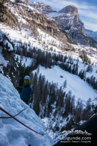 Eisklettern Lujanta Südtirol, Grödnerjoch, Kolfuschg