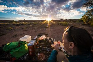 Sonnenuntergang Camping Essen
