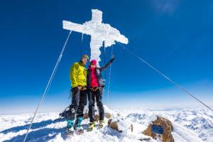 Wildspitze Gipfelkreuz Anraum Seilschaft