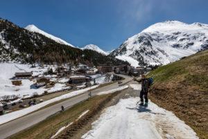 Skiabfahrt Vent Skigebiet Frühjahr Frühling