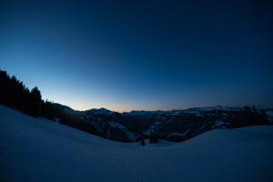Sonnenaufgang in den Bergen (Winter, Skitour)