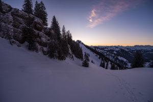 Sonnenaufgang am Heidenkopf bei Balderschwang.