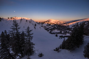 Skitour: Girenkopf und Hochgrat im Sonnenaufgang.
