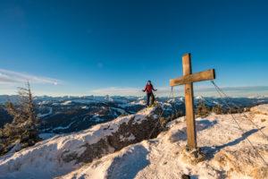 Gipfelkreuz Heidenkopf als Skitour.