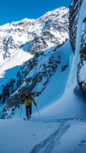 Renkfälle Eisschlauch Zustieg per Ski
