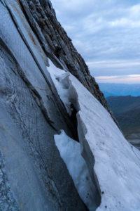 Bergschrund an der Fußsteinkante