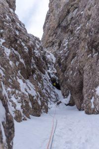 Alpines Eisklettern am Torre Vitty - in unserem Fall leider vorwiegend im Schnee