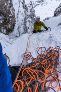 Eisklettern am Torre Vitty, Grödner Joch, Südtirol