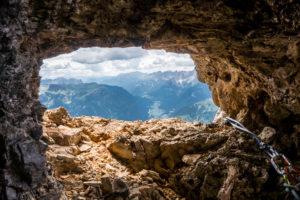Felsenfenster Dolomiten Rosengarten