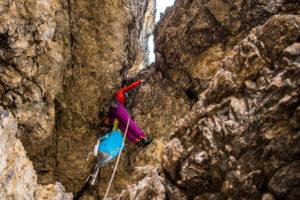 Kaminklettern Dolomiten Rucksack