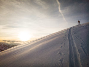 Sonnenuntergang Skitour Winter